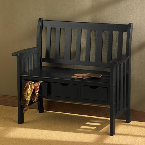 SEI Black 3-Drawer Country Bench