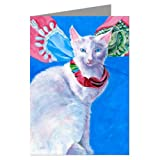 White Cat with Hermes Scarf Greeting Card Set