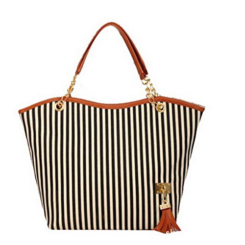 Meet Color Stylish Stripe Top Handle Large Roomy Shoulder Handbags Tote Bags