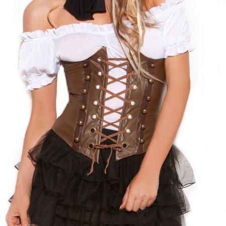 Elegant Moments 214752 Steampunk Adult Corset - Brown - Size 32