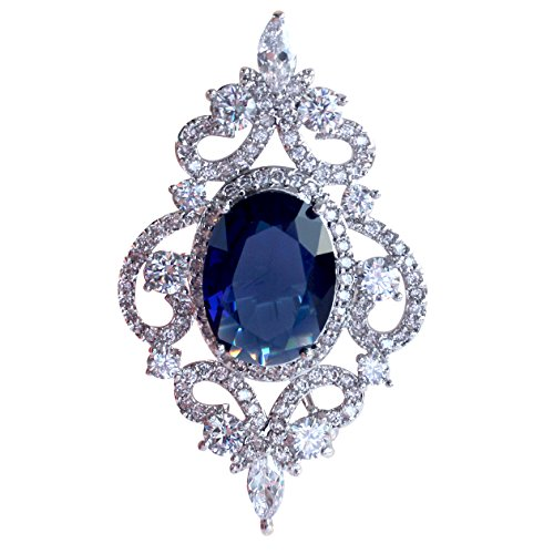 SELOVO Vintage Style Women's Blue Oval Sapphire-color CZ Crystal Wedding Bridal Pin Brooch Silver Tone (Crystal Brooch compare prices)