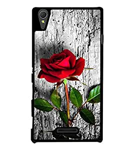 Red Rose on Wood Back Case Cover for SONY XPERIA T3