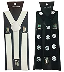 Atyourdoor Y- Back Suspenders for Men(White & Dollar Design)