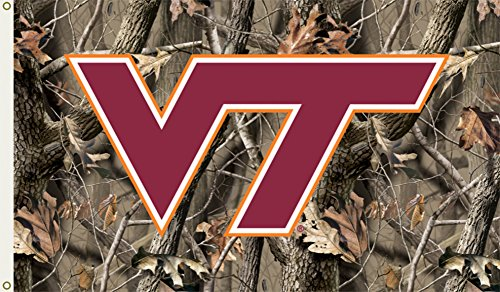NCAA Virginia Tech Hokies 3-by-5 Foot Flag with Grommets - Realtree Camo Background