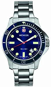 Wenger 'Battalion' Navy Blue Dial Watch With Rotating Bezel