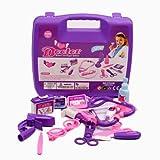 (マサリン)Masalingお医者さんごっこ お医者さんセット ドクター 女の子 知育おもちゃ パープル/ブルー ケース付き 14点セット (パープル)