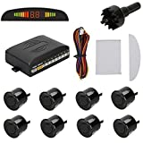 AV SUPPLY Car Reversing Vehicle Reverse Backup Radar System LED Crescent Display with 8 Car Parking Sensors High-volume Warning Buzzer for All Cars (Black) (Color: Black)