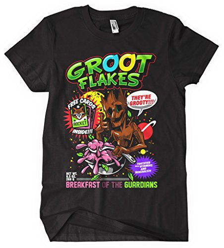 Gaurdians Of the Galaxy-Maglietta Rocket Raccoon, collezione Groot cereali groot_flakes_black film nero XXL