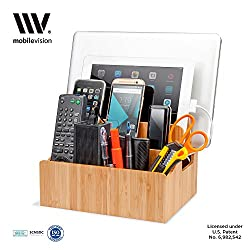 MobileVision Bamboo Charging Station Stand and Multi Device Organizer Charging Dock with Extension Compartments for Desktop Storage, Caddy / Tray Space Saver capabilities for your Smartphones / Tablets like Apple iPhone / iPa
