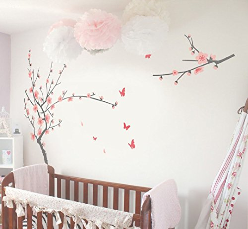 TIKTAK ART Removable Cherry Blossom Japanese Sakura Tree Wall Decal - BIG SIZE - Easy Peel And Stick DIY Decal