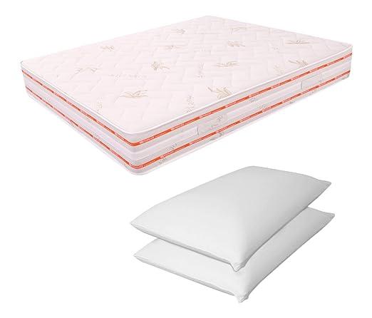Matratze Doppelbett-Schaum 6cm 165x 195cm hoch-25Zwei Kissen-Schaum-13cm Relax ORTOPEDICO