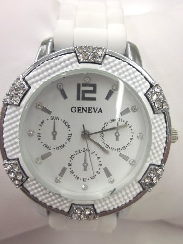 Women'S Geneva Watch White W/ Silver Faux Chronograph Silicone Rubber Jelly Link Look Band