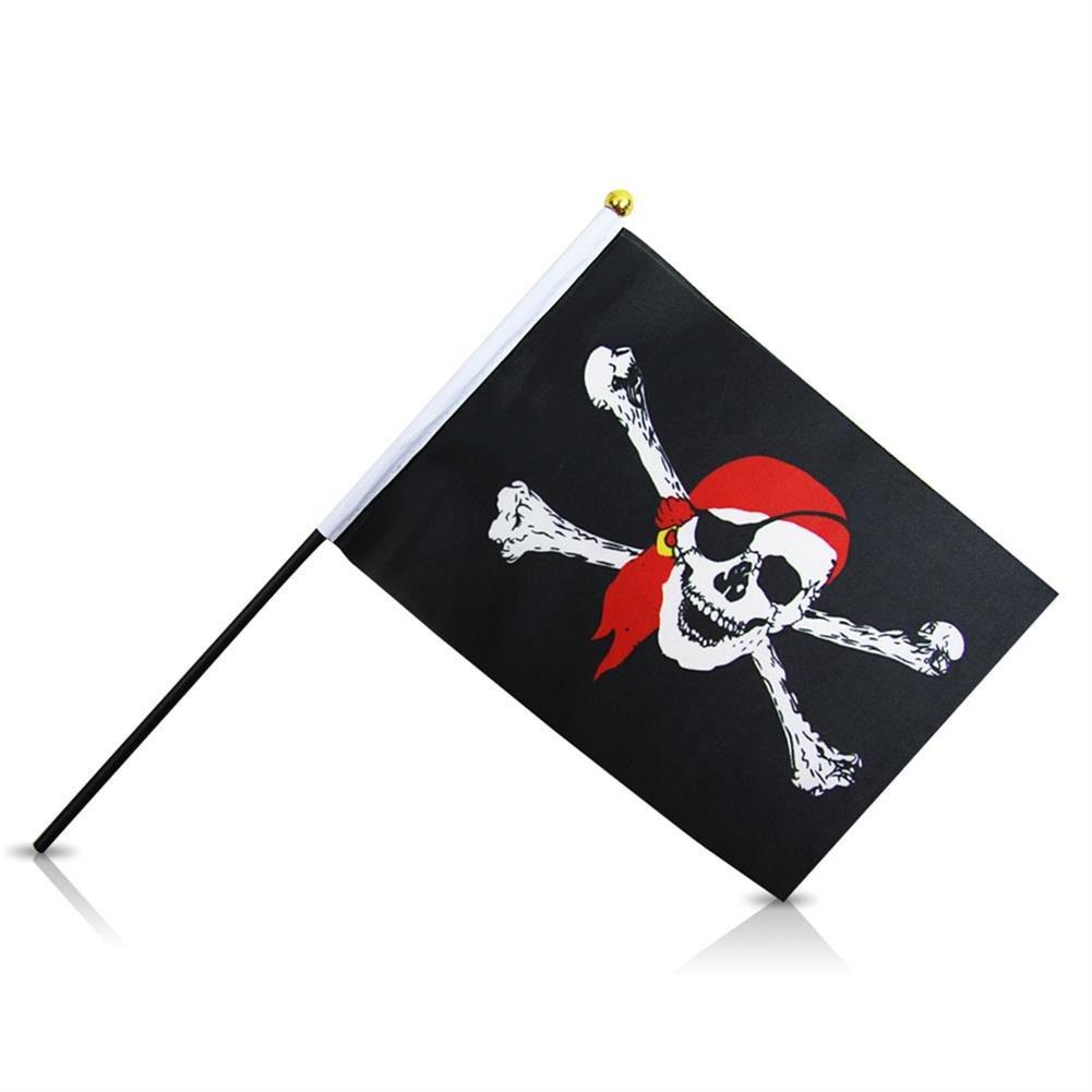 384 x Piratenfahne Fahne Pirat mit Stab 15 x 22cm günstig