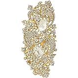 EVER FAITH Gold-Tone Royal Flower Pattern Clear Austrian Crystal Brooch