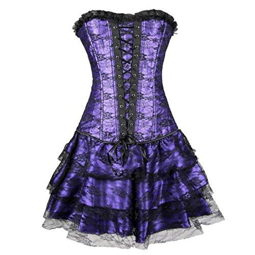 Kiwi Rata Women's Gothic Lace Skirt Party Costume Floral Dress Corset Bustier Purple S
