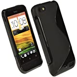 iGadgitz Dual Tone Black Durable Crystal Gel Skin (TPU) Case Cover for HTC One V Primo T320e Android Smartphone Mobile Phone + Screen Protector