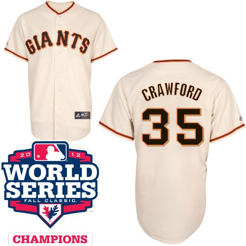 Brandon Crawford San Francisco Giants Youth Replica Home Jersey w/ 2012 World Series Champions Patch by Majestic