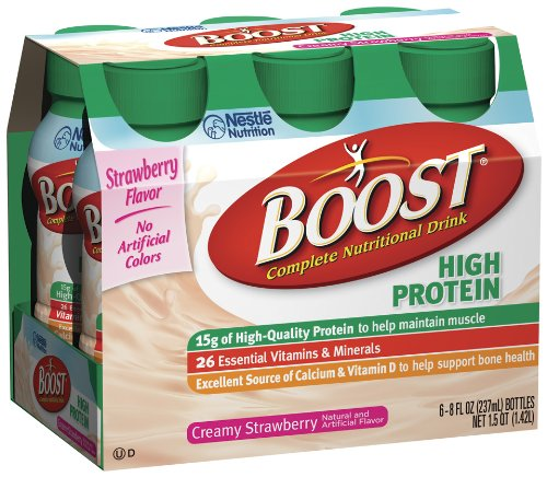 Boost High Protein Nutritional Energy Drink, Creamy Strawberry, 8 Ounce Bottle (Pack Of 24) front-675575