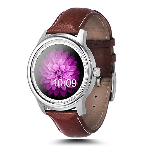 LEMFO LEM1 Bluetooth Smart Watch - Waterproof Leather Strap Full HD IPS Screen Fitness Tracker For IOS Android Smartphone (Silver)