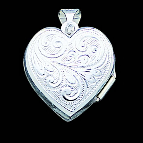 Silver Scrolled Front & Back Heart Locket. Metal Weight- 1.64g.