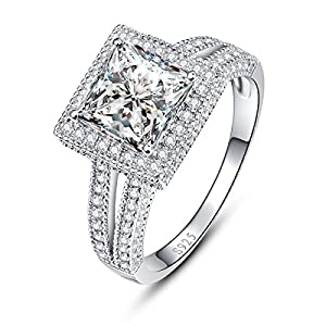 Bonlavie Gorgeous Square Cut Cubic Zirconia CZ Diamond Accented Solitaire Engagement Wedding Ring Size 8