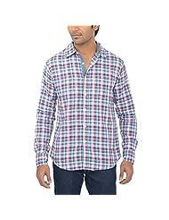 One Fuel Men's Purple Blue White Checks Casual Slim Fit Shirt