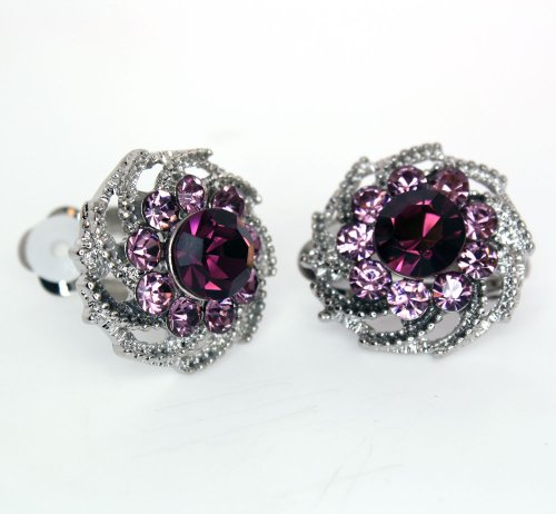Vintage Amethyst and Alexandrite Color Austrian Crystal Flower Clip-on Earrings