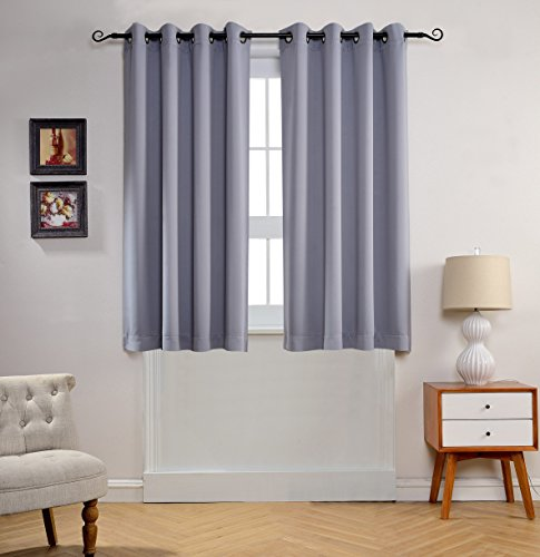 MYSKY HOME Solid Grommet top Thermal Insulated Window Blackout Curtain for Bedroom, 52 by 63 inch, Grey (1 panel) (Window Curtains Bedroom compare prices)