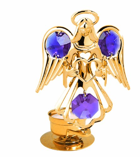24K Gold Plated Angel Holding a Heart Tea-Light..... With Purple Swarovski Austrian Crystal - 1