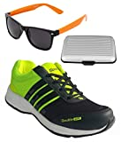 Spot On Men's Black Green Running Shoes With Lotto Sunglasses And Cardholder Combo UK-7