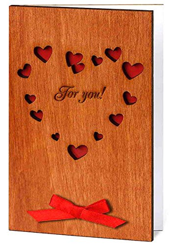 Handmade Sustainable Real Wood Big Heart for you - Engagement Romantic Love Greeting Card or Sentimental Valentine (Super Mario 74 compare prices)