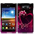 Combo Accessory for Straight Talk Net 10 LG Optimus Showtime L86c L86g - Artisan Designer Hard Protective Case Cover + SportDroid Transparent/Clear Decal (Lovely Heart and Flower)