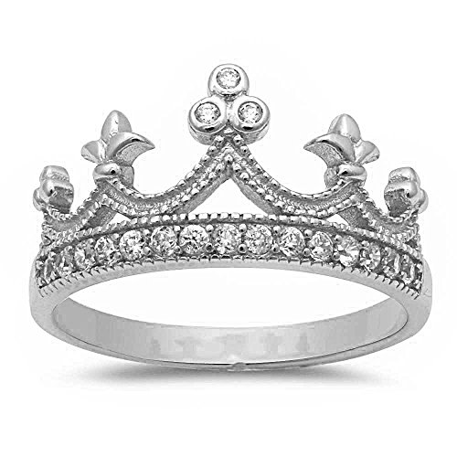 .925 Sterling Silver Simulated Cz Crown Ring Sizes 4-11 (10)