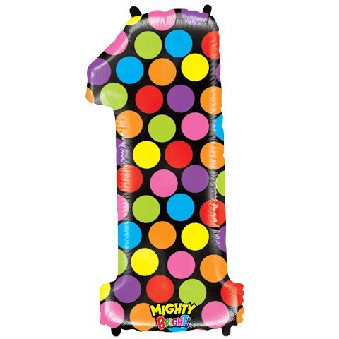 "Number One Mighty Bright Polka Dot Megaloon 40"" Mylar Foil Balloon - 1"
