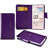 (Purple) Huawei Ascend G300 Protective Mega Thin Faux Leather Suction Pad Wallet Case Cover Skin With Credit/Debit Card Slots Aventus