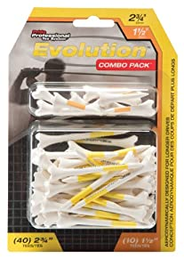 Pride Professional Tee System Evolution Plastic Golf Tees (Pack of 50), 40 Count 2-3/4-Inch + 10 Count 1-1/2-Inch