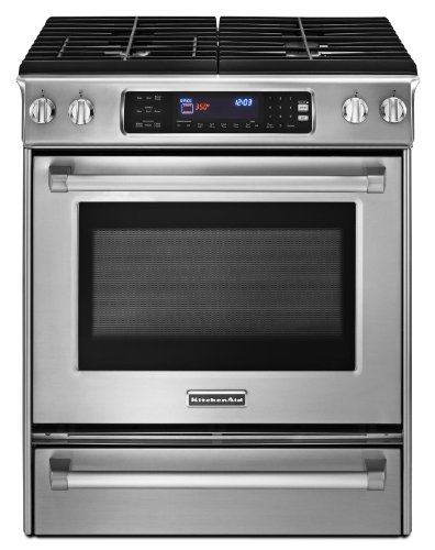 KitchenAid Pro Line KGSS907XSP 30 Slide-in Gas Range 4 Sealed Burners, Convection, Self Clean