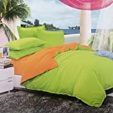 Dexim Exclusive Solid Poly Satin 4 Piece Bedding Set With Reversible Duvet Cover (Orange/Green)