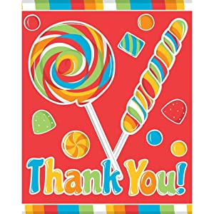 Creative Converting Sugar Buzz Thank You Notes, 8 Count