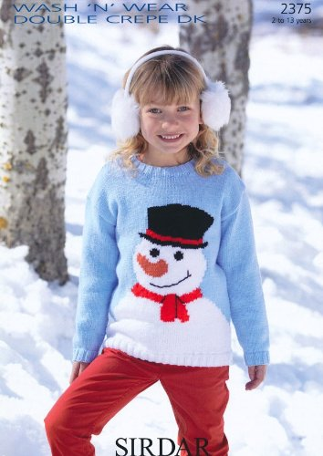 Sirdar Children's Christmas Snowman Sweater DK Knitting Pattern