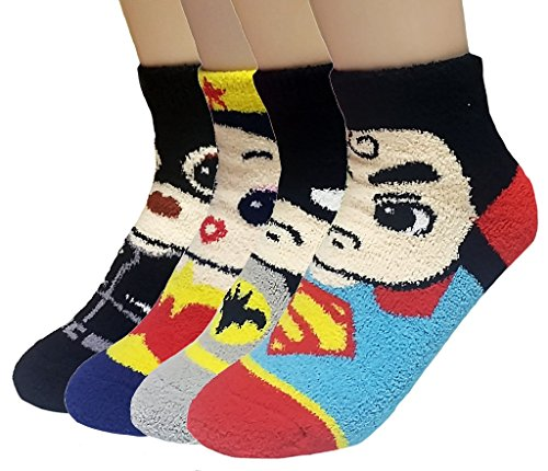 JJMax Women's Superheroes and Villains Cute Cartoon Hero Socks Set (Fuzzy 4 Pair Set)