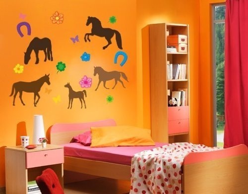Style and Apply Colorful Horse Wall Decal Set