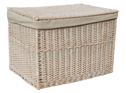 Huge, Cotton Lined, Whitewashed Wicker Storage Chest or Hamper, Integral Handles and Straps