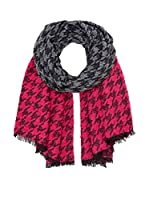 Marc by Marc Jacobs Bufanda Terence Houndstooth (Negro / Gris / Fucsia)