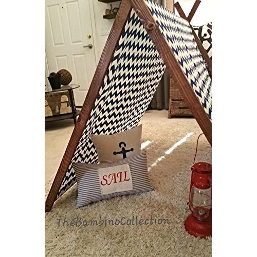 Childrens Blue And White Chevron A-Frame Tent