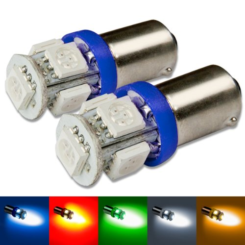 Auto Dynasty Ba9S 5 X High-Power Enhanced Smd Blue Led Light Bulb Pack Of 2