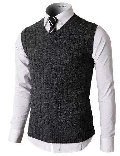H2H Mens Knitted V-neck Vest With Twisted Pattered CHARCOAL US M/Asia L (KMOV037)