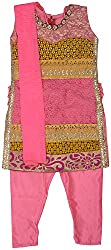 Gowri Marketing Girls' Salwar Set (AM0006_22, Pink With Yellow, 6-7 Years)
