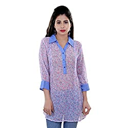 Tantra Chloe Women's Top, Blue Floral Printed, X-Large
