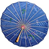 "Chinese Japanese Blue Fabric Umbrella Parasol 32"""